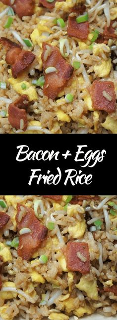 This Bacon & Eggs Fried Rice is quick, easy and affordable, perfect for busy weeknights or cheap eats when money is a little tight. You probably have most of what you need in your pantry and fridge already. Dig deep, I'm sure there's a bottle of soy sauce in there. #baconeggsfriedrice #bacon #eggs #friedrice #takeout #easydinners