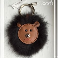 Coach Key Ring Chain Fob~NWT~Authentic~Bear~firm Authentic Coach Brown Bear with Black Mink Fur Keychain~NWT~Silver Hardware/Brown Leather~Smoke Free Home~Comes with a silky Coach dust bag~~~No Trades Coach Accessories