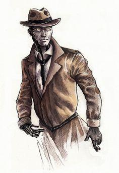 Nick Valentine (Fallout 4) by Verismaya on DeviantArt Fallout 4 Nick Valentine, Fallout 4 Companions, Sketchbook Drawings, Fat Man, Elder Scrolls, Paladin, Post Apocalyptic, Game Art, Detective