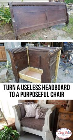 From a Useless Headboard to a Purposeful Chair - Dixie Belle Paint Company - Diy kopfteil Furniture Projects, Furniture Making, Painted Furniture, Wood Projects, Garden Furniture, Bedroom Furniture, Furniture Design, Furniture Refinishing, Furniture Layout