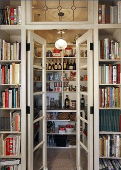 tucked-away pantry  amid a library of cookbooks