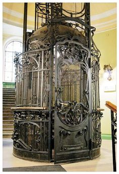 An Art Nouveau elevator, from a time when even utilitarian items were a work of art