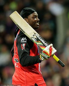 Gayle claims he is a victim of double standards for the reaction to his comments to Mel McLaughlin, having helped the Big Bash League grow during spells at Sydney Thunder and Melbourne Renegades (above)