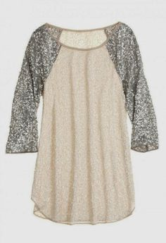 Glitter sleeves baseball tee! would look cute with jeans, pencil skirt, belted maxi, etc