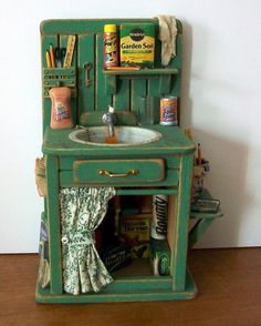 Garden Shed Sink by Marquis Miniaturesdollhouse makeover ideas for boys. Garden shed sink dollhouse miniatureOne inch dollhouse scaleI know this is a miniature replica.but I want a life size version! Storage sheds will give you that extra space, and at th Miniature Rooms, Miniature Kitchen, Miniature Crafts, Miniature Houses, Miniature Furniture, Doll Furniture, Dollhouse Furniture, Diy Dollhouse, Dollhouse Miniatures