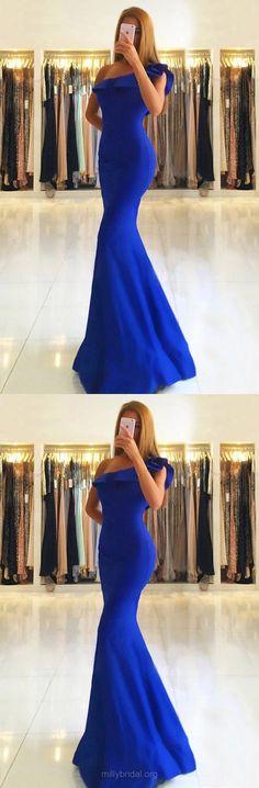 Blue Prom Dresses, Long Prom Dresses, 2018 Prom Dresses For Girls, Trumpet/Mermaid Prom Dresses One Shoulder, Satin Prom Dresses For Teens #teens #promdresses #blue