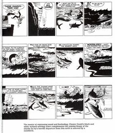 Few comic strip artists could use the beautiful interplay of black inks and white space like Chester Gould could - and even fewer used their mastery of that delicate skill to illustrate someone's imminent death by a shiver of ravenous sharks. Gould probably had that market covered pretty well, I'd bet. Scan from Dick Tracy: America's Most Famous Detective.