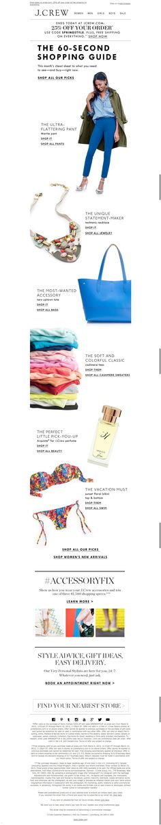 #newsletter J.Crew 03.2015 The 60-second shopping guide: lots of color, our favorite accessories & more (plus, our sale event ends today)