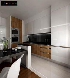 White and black wooden kitchen