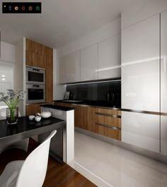 White and black wooden kitchen