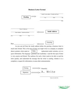 Business Complaint Letter - An excellent sample of a complaint letter.Also contains resources with information on how to write a great complaint letter.