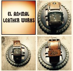 Custom leather watch cuff. Elanimalleatherworks