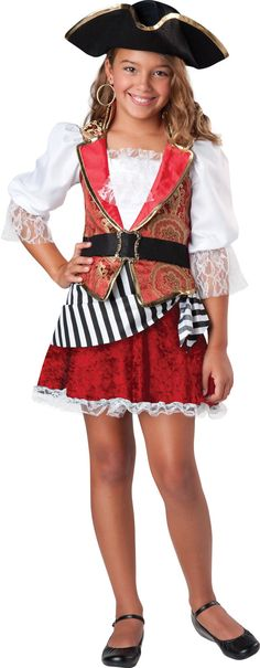 Sail the open seas looking for treasure in a beautiful pirate costume including hat