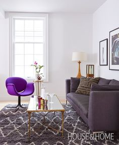 Living Room with Pops of Purple