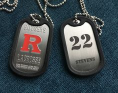 Laxmedals.com custom military style lacrosse team award medals dog tags. Lacrosse medals.#lacrosse #lacrossemedals #lax #lacrosseawards #lacrossecoins #sportsmedals #customsportsawards #laxmedals Military Style, Military Fashion, Sports Medals, Sports Awards, Dog Tags Military, La Crosse, Dog Tag Necklace, Personalized Items, Sheet Metal