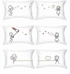 His & Hers Love Bubbles Pillow Cases; His & Hers Kiss Catcher Pillow Cases; His & Hers Love Whisper Pillow Cases Cute Pillows, Bed Pillows, Cushions, Funny Pillows, Sewing Projects, Diy Projects, Pillow Talk, Cross Stitch Patterns, Arts And Crafts