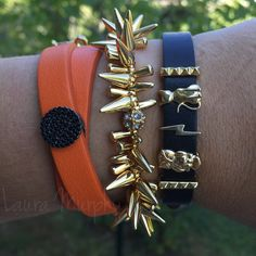 Halloween Inspired: double orange leather keeper with jet black pavé disc. Single black leather keeper with gold pyramid bar, gold owl, gold lightning bolt, gold cat, gold pyramid bar. Paired with Stella & Dot. #keepcollective