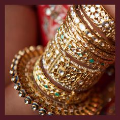 A stack of kadas, bangles and pacheli in uncut diamonds, emeralds, baroque pearls and the finest quality meenakari from the Sabyasachi Heritage Jewelry collection. Wedding Jewellery Inspiration, Indian Wedding Jewelry, Indian Jewelry, Boho Inspiration, Indian Weddings, Rajputi Jewellery, Gold Bangles Design, Designer Bangles, Designer Jewelry