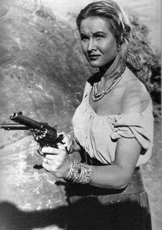 COLORADO TERRITORY (1949) - Colorado Carson (Virginia Mayo) defends her bandit lover from a posse - Story by W. R. Burnett - Directed by Raoul Walsh - Warner Bros. - Publicity Still.