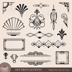 Digital Clipart ART DECO Design Elements Frames / by MNINEDESIGNS