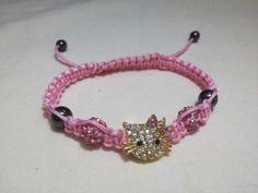Shamballa-Crystal-Pink-Beads-Hello-Kitty-Adjustable-Magnetite-Bracelet-US-Seller #hellokitty #pink #shamballa #bracelet