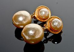 Karl Lagerfeld Earrings pearl and gold tone by VintagebyViola, $219.00