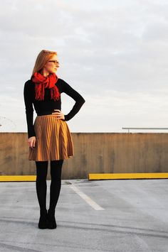 Simplicity - dark shirt and tights - muted scarf and full skirt
