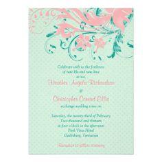 Mint Pink Teal Vintage Floral Wedding Invitation