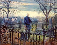 """The Final Visit"" by Mort Kunstler. Robert E. Lee in Lexington, VA visiting Jacksons grave."