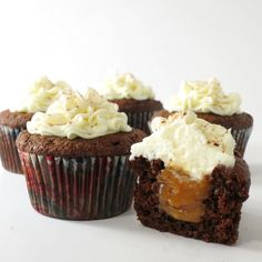 Luscious chocolate cupcakes with homemade salted caramel and vanilla buttercream frosting on top.