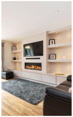 Built In Shelves Living Room, Built In Wall Units, Feature Wall Living Room, Living Room Wall Units, New Living Room, Tv Wall With Shelves, Tv Built In, Paint Colors For Living Room, Small Living