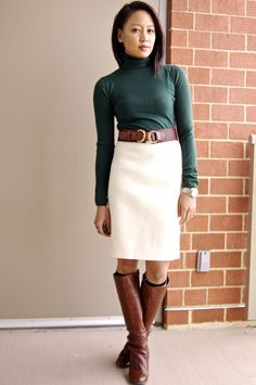 Forest Green Turtle Neck, Double Serge Wool Offwhite skirt #a fashion deliberation