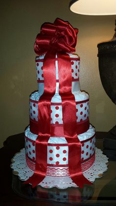 Three tier elegant red and white diaper cake by CreationsbyLumy