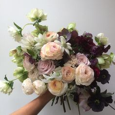 "Ranunculus, Roses, Anemones, Hellebores, Blushing Bride Protea, Flannel Flowers ""Free Form"" Wedding Bouquet"