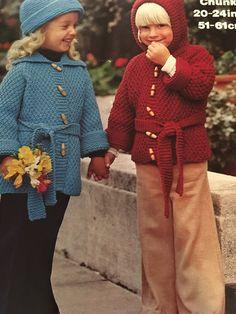 "Knitting Pattern Children Girl Boy Cardigan Coat Hat Chunky 20-24"" Vintage PDF by CraftybyLulu on Etsy"