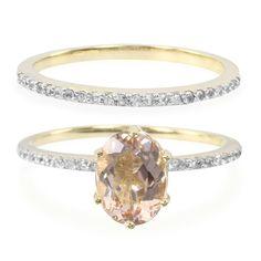 Bague de fiançailles et alliance 2en1 en or sertie d'une Morganite et de Saphirs blancs - Bijoux de mariage rose - Juwelo Bijouterie en Ligne