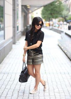 Black & Gold Tweed Shorts
