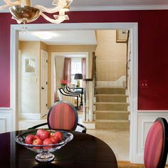 We love the cranberry wall colour and how it flows into a rich ...