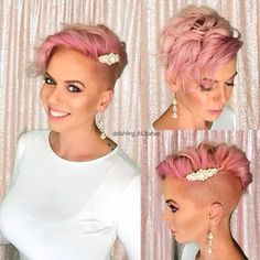 Pixie Cut - nothingbutpixies is doing a wedding themed week. 💕 Here's an easy cute idea for pixie wedding hair. Pink Short Hair, Short Wedding Hair, Pink Hair, Short Hair Cuts, Curly Short, Hairstyle Wedding, Black Hair, Wedding Dress, Shaved Side Hairstyles