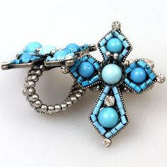 A Cowgirl Turquoise Beaded Cross Ring