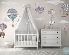 Med Girl, Hot Air Balloon Animals Set of 9 Clouds, hand painted look, Designer Fabric Wall decals, The Sky is the Limit Baby Boy Rooms, Baby Bedroom, Baby Room Decor, Baby Boy Nurseries, Nursery Room, Girl Nursery, Girl Room, Kids Bedroom, Nursery Decor