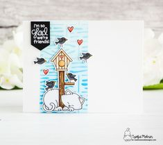 Newton's Nook Designs April Release – Day 4 Lace Stencil, Cloud Stencil, Celebrating Friendship, Black Banner, Pretty Sky, Distress Oxide Ink, Cat Cards, Spring Is Here, Hello Everyone