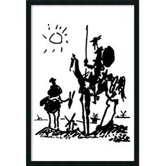 Pablo Picasso 'Don Quixote' 25 x 37-inch Framed Art Print with Gel... ($69) ❤ liked on Polyvore featuring home, home decor, wall art, black, black home decor, animal posters, outside home decor, pablo picasso poster and framed wall art