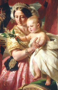 Queen Victoria wearing the King George tiara, which was made for her grandmother, in a painting by Winterhalter. The baby is Prince Arthur.