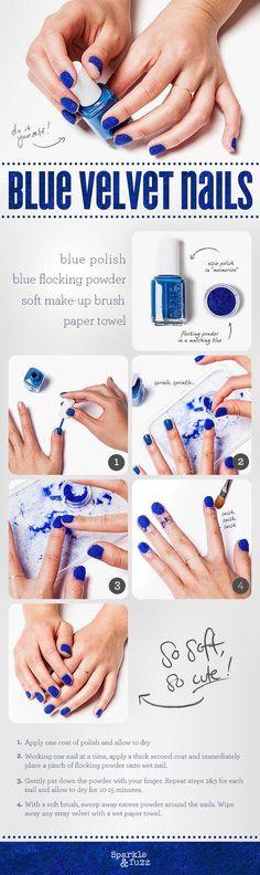 How to make blue velvet nails, nice!