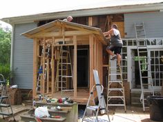 Installing a metal roof to the mudroom