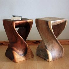 """We have a pair of the 20"""" walnut tone twist stools as end tables for our couch at home. There's not much red in them like the picture shows, more brown like the alternate closeup image on the site."""