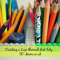 Creating a Lego themed desk tidy for a child's bedroom - http://so-mum.co.uk/creating-lego-themed-desk-tidy-childs-bedroom/