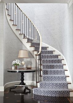 This staircase - Markham Roberts Carpet selection for stairs..