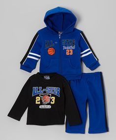 Take a look at this Blue & Black 'All-Star' Hoodie Set - Infant & Toddler by Angel Face on #zulily today!